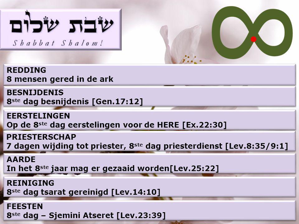 REDDING 8 mensen gered in de ark. BESNIJDENIS. 8ste dag besnijdenis [Gen.17:12] EERSTELINGEN. Op de 8ste dag eerstelingen voor de HERE [Ex.22:30]